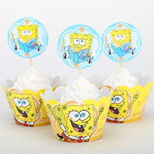 SXK Co. Spongebob Squarepants Cupcake Wrappers & Toppers 1 Dozen