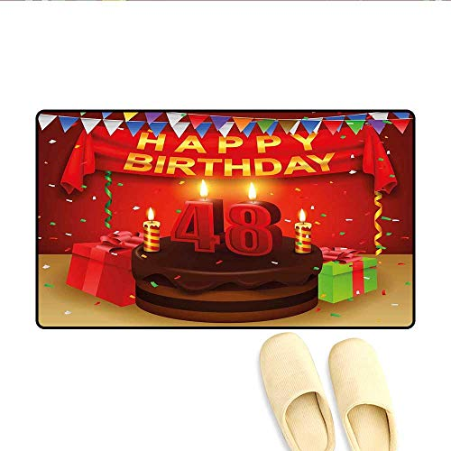 Bath Mat Presents and Chocolate Cake with Candles Party Flag Artsy Design Print Doormats for Inside Non Slip Backing Red Brown Lime 24