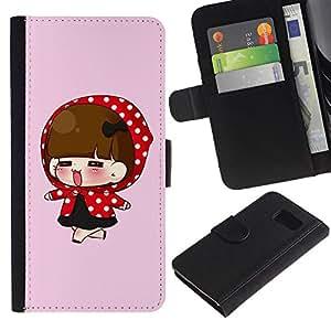 iBinBang / Flip Funda de Cuero Case Cover - Rojo lindo Capucha Chica - Samsung Galaxy S6 SM-G920
