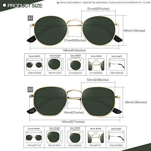 GRFISIA Small Round Polarized Sunglasses Women and MenVintage Hexagon Square Sun glasses UV400 Protection