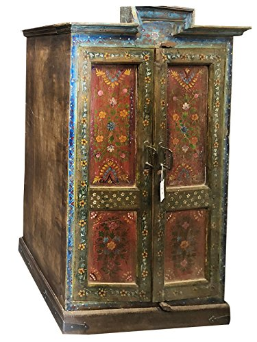 Mogul Interior Antique Indian Floral Hand painted Cabinet Armoire Cupboard One of Kind Luxury Home (Indian Armoire)