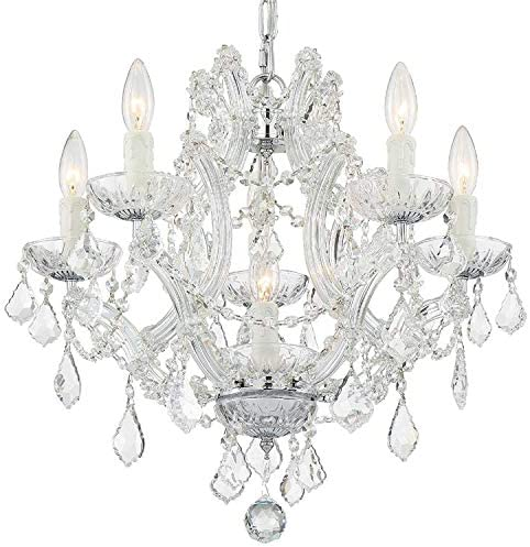 Maria Theresa 6 Light Clear Crystal Chrome Mini Chandelier