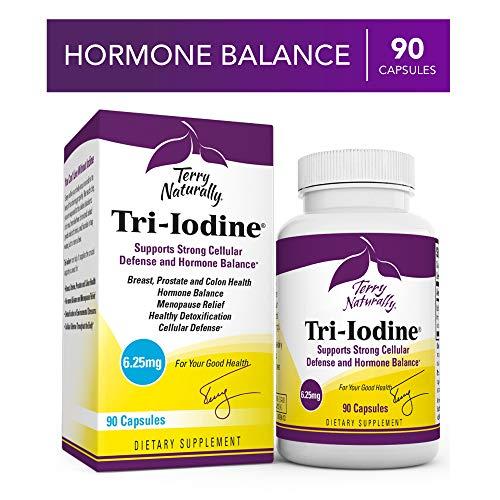 Terry Naturally Tri-Iodine 6.25 mg – 6250 mcg Iodine, 90 Vegan Capsules – Supports Hormone Balance, Promotes Breast Prostate Health – Non-GMO, Gluten-Free, Kosher – 90 Servings