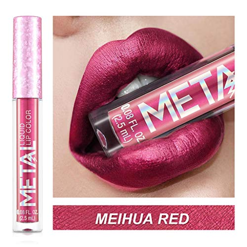 NEEKEY Lip-glosses,12 Colour Metal-Coloured Liquid Lipstick Lip Gloss Cup Lip Glaze Makeup