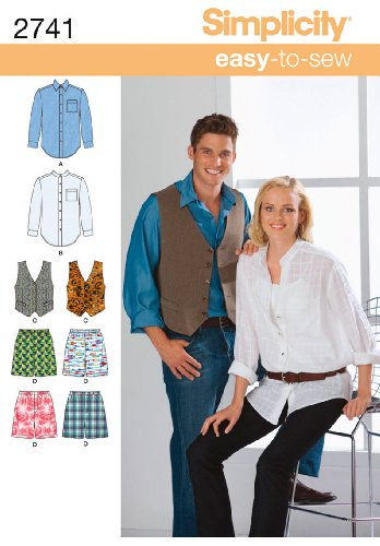 (Simplicity Easy-to-Sew Pattern 2741 Misses, Mens, Teens Shirt, Vest and Boxer Shorts Chest Size 30-40 inches XS-M)