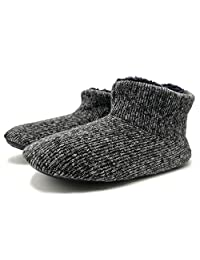 ONCAI Men's Handmade Woolen Yarn Indoor Slipper Boots Sherpa Lined