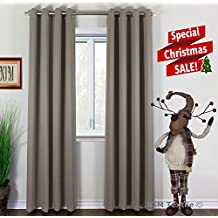 """NIM Textile Grommet Curtains Thermal Insulated Blackout Drapes - Sofiter Collection 110""""W x 84""""L, 2-Panels Set, Taupe"""