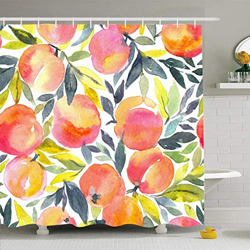 Ahawoso Shower Curtain 66x72 Inches Creative Pattern Bright Hand Watercolor Peach Food Harvest Drink Ange Apricot Drawing Fruit Waterproof Polyester Fabric Set with Hooks