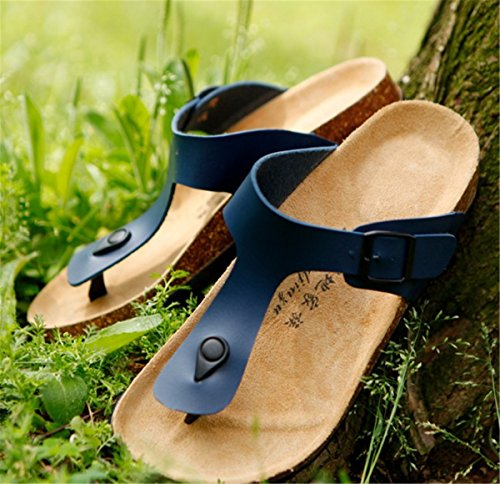 Sandali Infradito Bininbox Uomo Sandalo Piatto Traspirante Pantofole Open-toe Sughero Blu