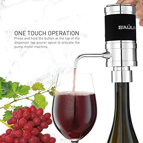 - Baulia WA819 Electric Wine Aerator Pourer and Dispenser One Touch Instant Decanter, Silver