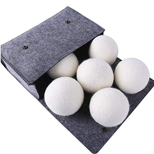 Woolous Premium XL 6 Pack New Zealand Pure Organic Non-Toxic Merino Wool Dryer Balls,Reusable, Reduce Wrinkles, Saves Drying Time Felted Laundry Dryer Ball (2.75inch/6 Pack)