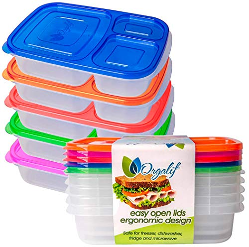Orgalif Lunch Containers for kids 3-Comparment Reusable Plastic Bento Lunch Box (1 Piece) (Black) (Black) (Multicolor)