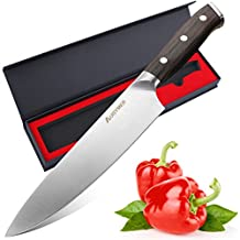 """AUGYMER Chef Knife, 8"""" Professional German High Carbon Stainless Steel Full Tang Kitchen Chefs Knife Wood Handle Sharp with Gift Box(AU7CG04)"""