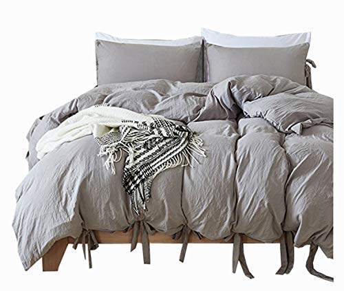 Meaning4 Queen Size Duvet Cover Set with Bowknot Bow Tie Ribbon Butterfly Bowtie Polyester Gray or Grey 3 pcs(1 duvetcover + 2 Pillowcase)