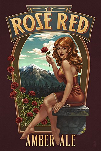 - Rose Red Amber Ale by Lantern Press Art Print, 33 x 50 inches