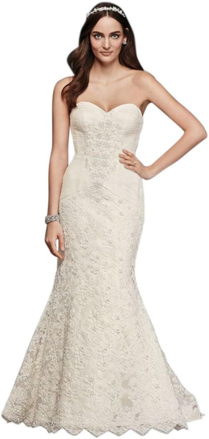 Ivory Strapless Lace Trumpet Wedding Dresses