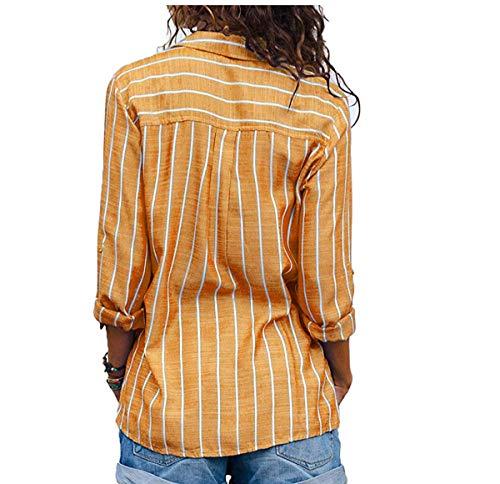 Maglietta Chiffon Lunga Ladies V In Loose Moda Manica Collo Camicetta Poliestere Bavero 16470arancione Moceal A Top Donna Womens Camicia Ol Felpe Sexy Casual gvm76YfbIy