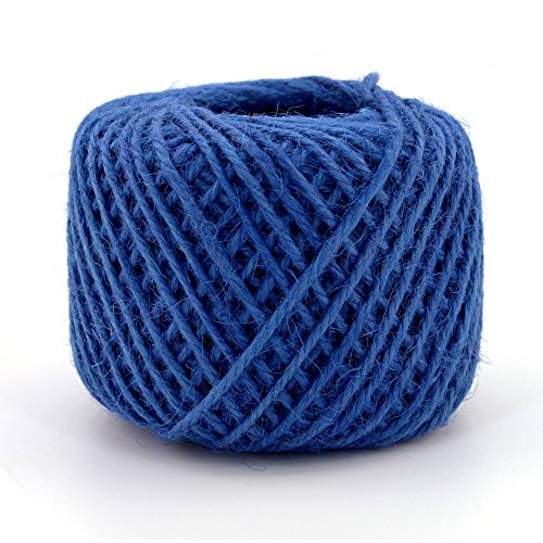 BambooMN 75 Yard, 2mm Crafty Jute Twine Thread Cord String Hemp Jute for Artworks, DIY Crafts, Gift Wrapping, Picture Display and Gardening, 3 Balls Navy Blue -