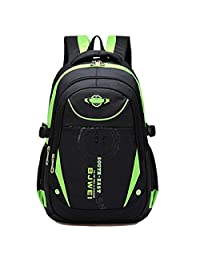 Waterproof School Backpack Durable Travel Hiking Bag Student Book Bag for Boys and Girls (Green)