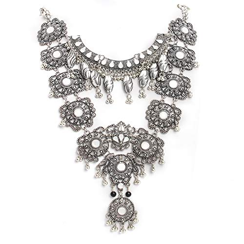 CrazyPiercing Vintage Boho Statement Necklace - Fashion Long Silver Bohemian Turkish Themed Necklace Oxidized for Women Big Ethnic Costume Jewelry -