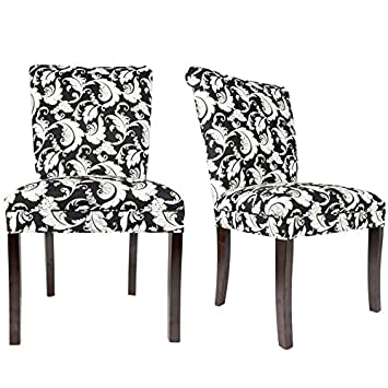 Sole Designs The Barcelona Collection Contemporary Style Fabric Upholstered Armless Dining Side Chairs Set of 2 , White and Black