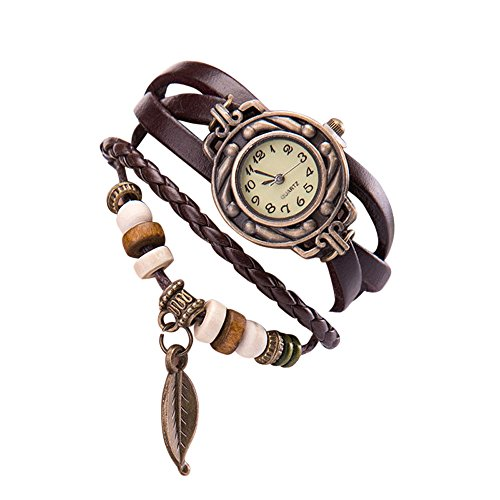 YaidaWomen Girl Vintage Watches, Bracelet Wristwatches Leaf Pendant Coffee from Yaida_❤️Watch