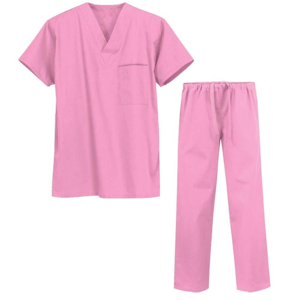 ESENHUANG Camice da Laboratorio Asciugatura Rapida Antistatico Antibatterico Anti-Ossidante Medico Manica Corta Cappotto E Pantaloni Corpo Diviso Unisex Medico