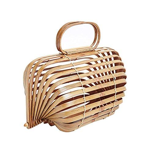 YJIUJIU Bolso De Bambú Hecho A Mano para Mujer Bolso Hueco De Playa Bolsos De Asa Superior
