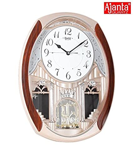 Ajanta 2927 Wall Clock (Golden, 46.3cm*34.2cm*8.5cm)