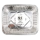 Aluminum Pans Foil Pans 12.8X10.3 (15 Pack) Durable Chafing Pans Disposable Steam Table Pans Rectangular Pan Containers Half Size Deep for Baking, Roasting, Cooking, Cakes, Loaf, Pie