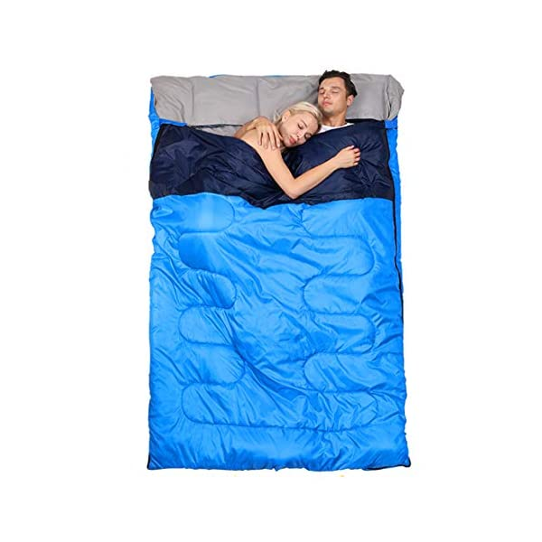 oaskys Camping Sleeping Bag - 3 Season Warm & Cool Weather - Summer, Spring, Fall, Lightweight, Waterproof for Adults & Kids - Camping Gear Equipment, Traveling, and Outdoors (Double Blue) 6