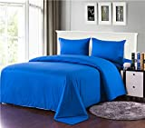 Bed Larger Than California King Tache Home Fashion 3-4PCOM-W/Zip-Blue-CK Solid Comforter bed in a bag duvet bedding Set (4 Piece), Blue, California King