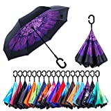 Kyпить NewSight Reverse/Inverted Double-Layer Waterproof Straight Umbrella, Self-Standing & C-Shape Handle & Carrying Bag for Free Hands, Inside-Out Folding for Car Use на Amazon.com