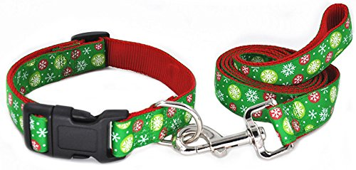 Moonpet Christmas Day Premium Nylon Dog Collar and Leash Lead Set - Adjustable Nylon Dog Collar and 4ft Leash - Best for Small Medium Large Dogs - Green Snow,S