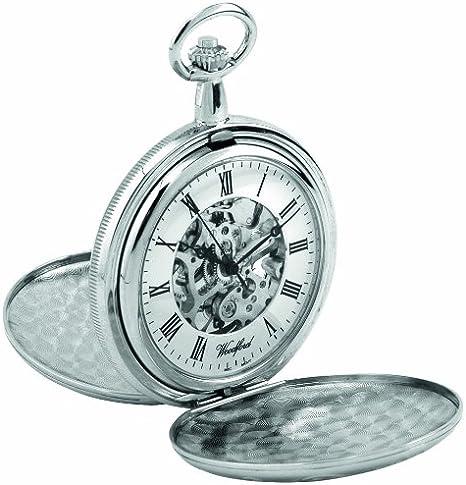 Woodford 1062 - Reloj de Bolsillo para Hombre con Acabado en Cromo, Dos Tapas y Cadena (se Puede Grabar): Amazon.es: Relojes