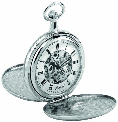 Woodford 1062 - Reloj de Bolsillo para Hombre con Acabado en Cromo, Dos Tapas y