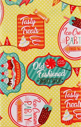 Round Ice Cream (Old Fashioned Sweet Shop Ice Cream Party Vinyl Flannel Back Tablecloth (60