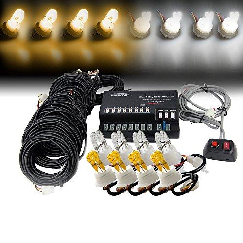Xprite 160W 8 White & Yellow(Amber) HID Bulbs Hide-A-Way Emergency Hazard Warning Strobe Lights