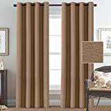 Room Darkening Faux Rich Linen Curtains 84 Inches Long Blackout for Bedroom Thermal Insulated Linen Curtains Drapes for Living Room, Window Treatment Curtains Draperies Grommet Top – Tan (2 Panels)