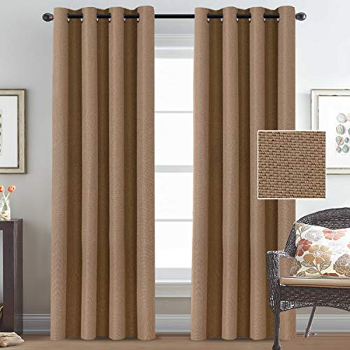 Room Darkening Rich Linen Curtains 84 Inches Long Blackout for Bedroom Thermal Insulated Linen Curtains Drapes for Living Room, Window Treatment Curtains Draperies Grommet Top - Tan (2 ()