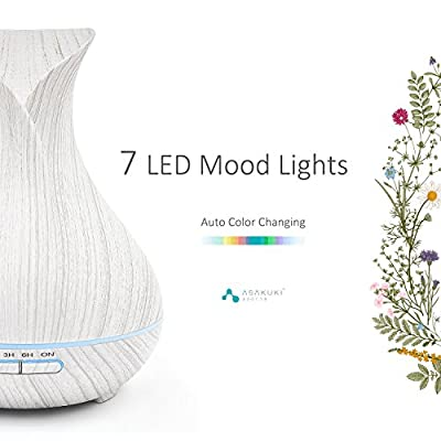 ASAKUKI 400ML Premium Essential Oil Diffuser, Quiet 5-In-1 Humidifier, Natural Home Fragrance Diffuser with 7 LED Color Changing Light and Easy to Clean