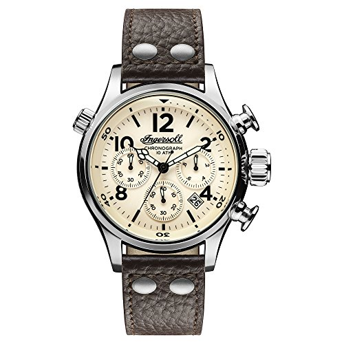 Ingersoll Men's Quartz Stainless Steel and Leather Casual Watch, Color:Brown (Model: I02002)