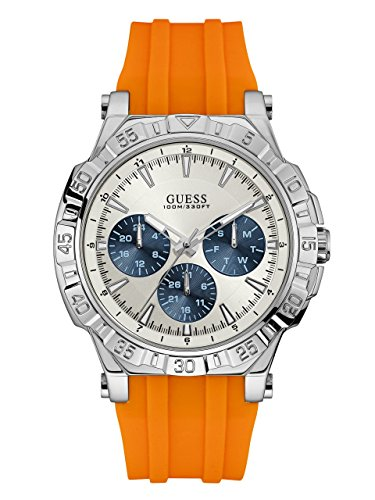 GUESS-Mens-Quartz-Stainless-Steel-and-Silicone-Casual-Watch-ColorOrange-Model-U0966G1