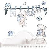 Juju & Compagnie - Stickers Muraux Enfant - Kit Complet de Decoration Murale JUJUBOX Oursons naissance Bleu Dimensions Kit - 50x90 cm