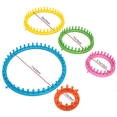 Vidillo Knitter Looms Set, 5 Size Round Knitting Looms Set Scraf Hat Maker, Plastic Round Knitting with 4 Size Pompom Maker and Knitting Needle and Hook for DIY Use by Vidillo (Image #1)