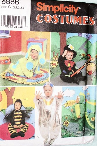 OOP Simplicity Costume Pattern 5856. Baby/toddler Szs 1/2; 1;2;3;4 Bumblebee; Dragon; Hobo; Dog; Alien Costumes. (Dog Dragon Costume Pattern)