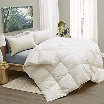 Image of Home and Kitchen 1221 Bedding LanaDown Wool/Down Organic Cotton Comforter with Bonus Wool Dryer Balls Full - Queen