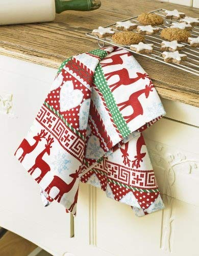 Nordic Reindeer & Snowflake Christmas Cotton Tea Towel Laura's Beau