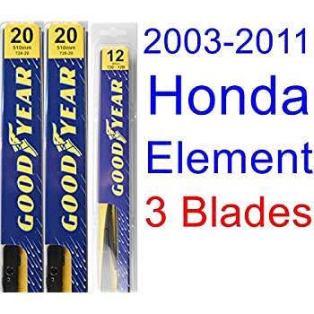 2003-2011 Honda Element Replacement Wiper Blade Set/Kit (Set of 3 Blades