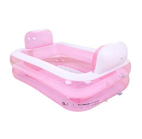 Pink Inflatable Bathtub Portable Folding Thicken Comfortable Soaking Tub,  Childrenu0027s Inflatable Pool Bathroom Home SPA
